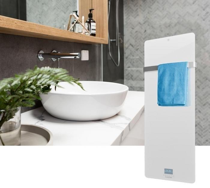 Quality heating Design glas infrarood paneel 850Watt met ingebouwde Wifi thermostaat QH41