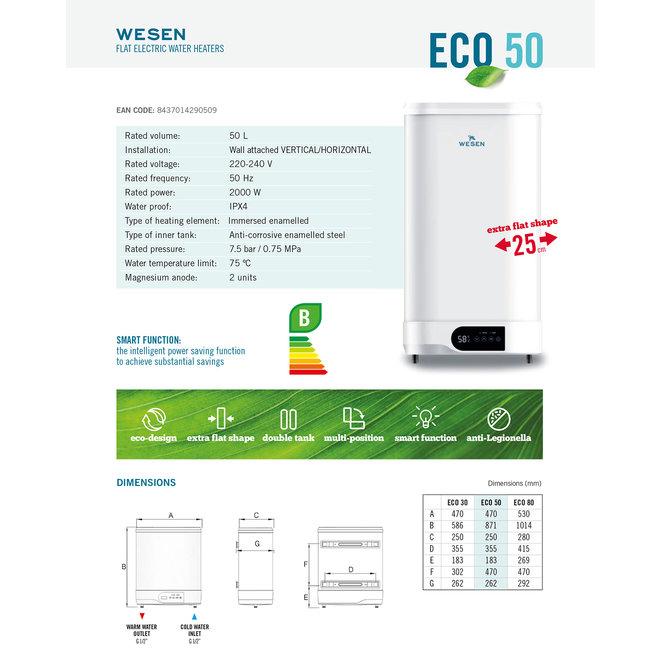 Verticale elektrische boiler 50L, FLAT model, 2 kW
