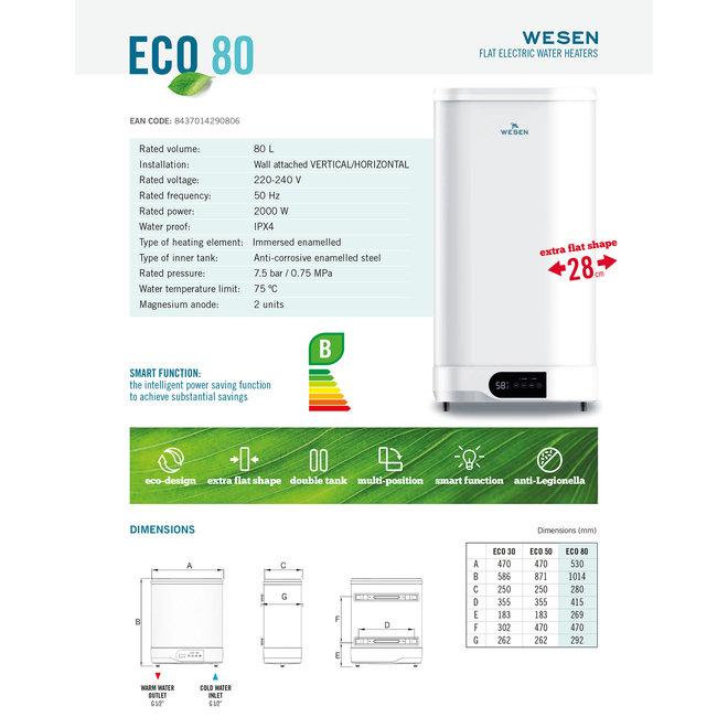 Verticale elektrische boiler 80L, FLAT model, 2 kW