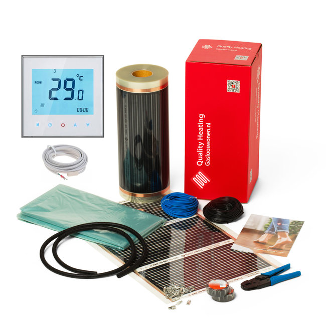 Quality heating E-vloerverwarming folie set voor parket en laminaat, inc. touch screen thermostaat