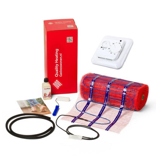 Quality heating Complete 150 Watt mat set inclusief eenvoudige draai thermostaat