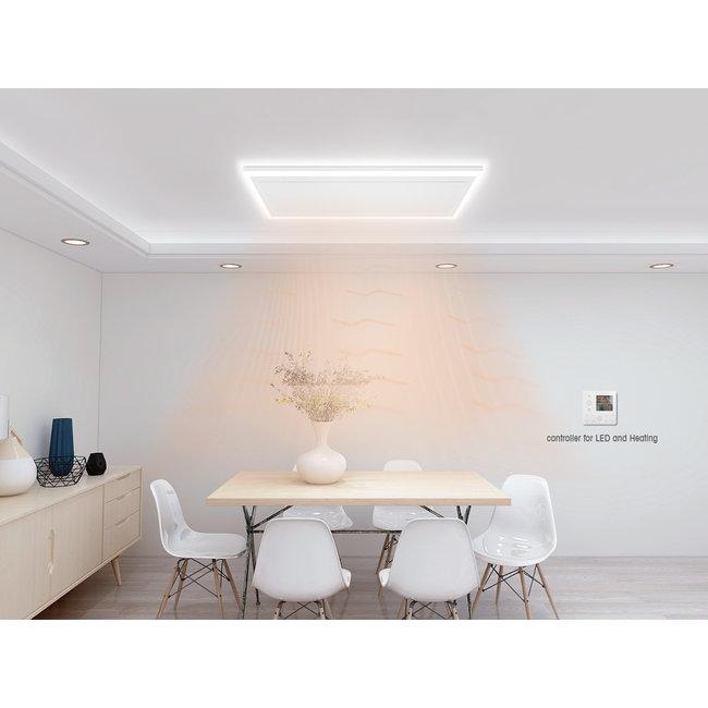 Quality heating Remote control infrarood paneel wit met led verlichting 70 x 70 cm 420Watt