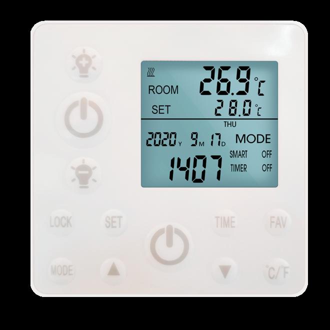 Remote control infrarood paneel wit met led verlichting 70 x 70 cm 350Watt