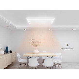Quality heating Remote control infrarood paneel wit met led verlichting 70 x 110 cm 680Watt