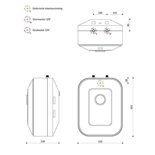 Luna Keukenboiler, 10 liter, RVS, voor boven of onder het aanrecht