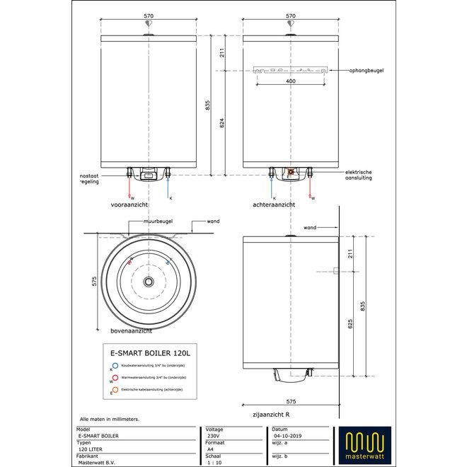 E-Smart RVS boiler zonder anode - 120 liter