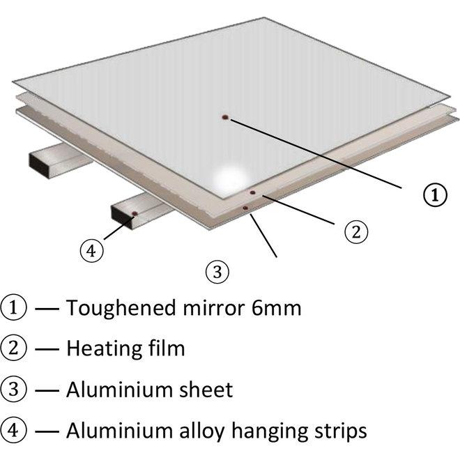 Spiegel met led verlichting infrarood verwarming 60X100 580Watt