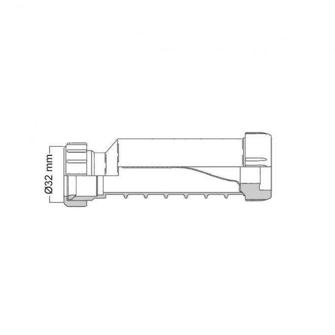 HepVo Sifon 32 of 40 mm kit met aansluitmof en aansluitbocht met wartel