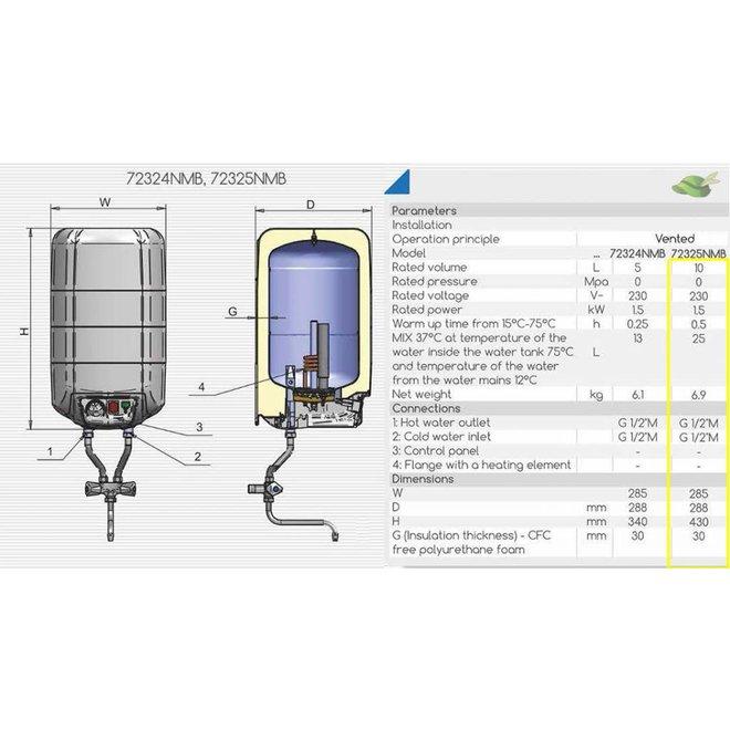 15 liter boiler met mengkraan voor montage boven de wasbak