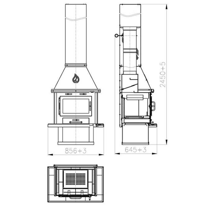 Uyut Lux inox CV Houtkachel (14 kW)