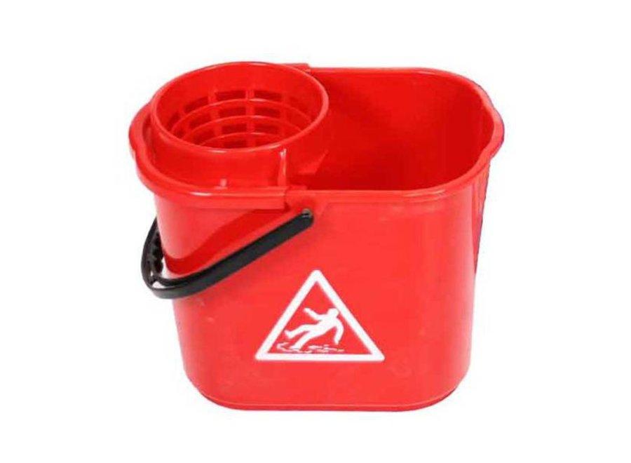 Minimopemmer kunststof 14 liter rood met uitwringkorf