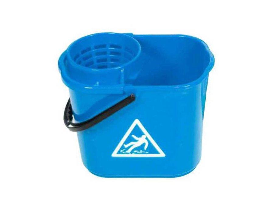 Minimopemmer kunststof 14 liter blauw met uitwringkorf