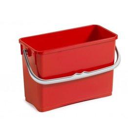 ACOR Wringpersemmer 6 ltr. rood  rechthoek voor materiaalwagen of werkemmer