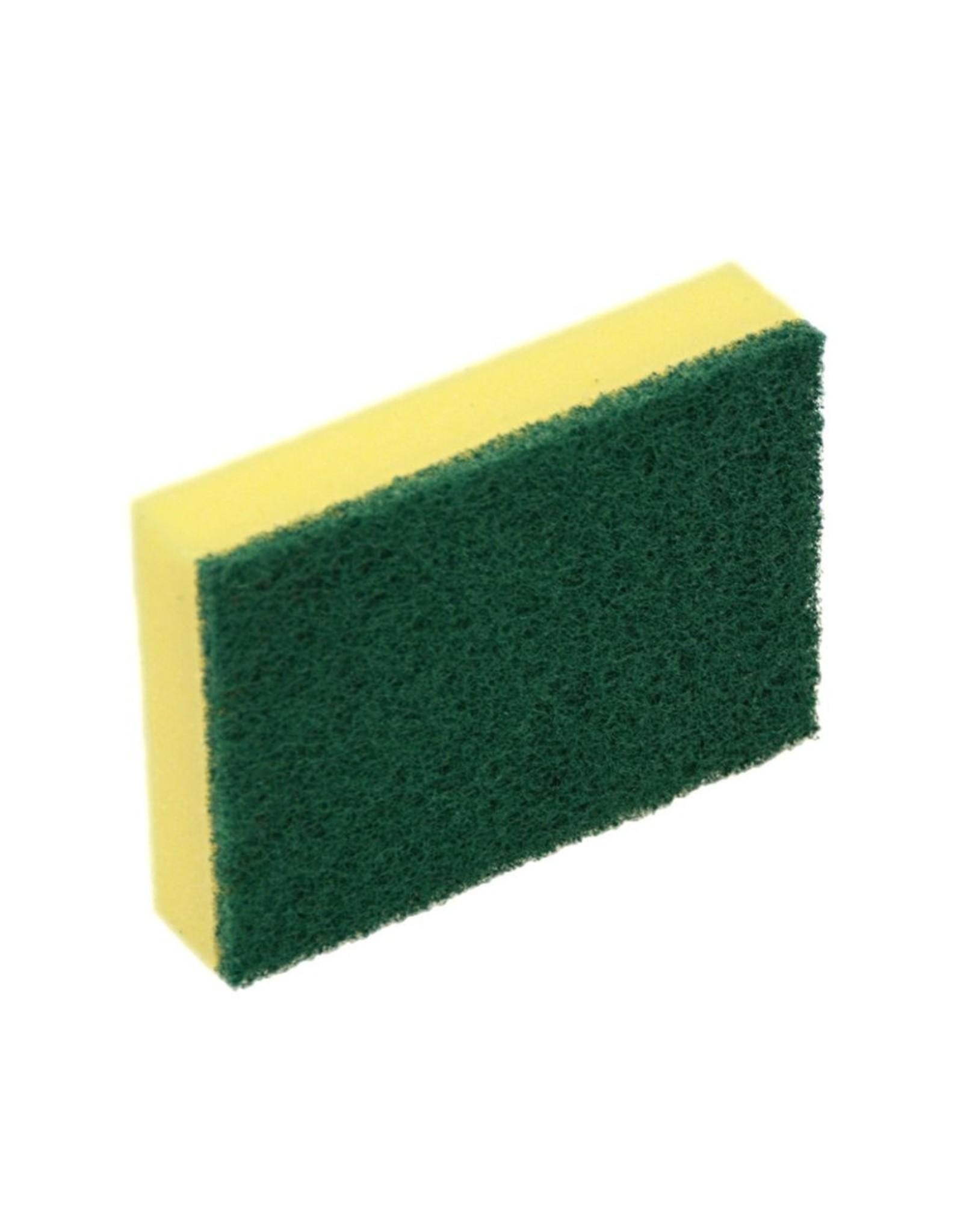 ACOR Reinigingsspons 10 stuks geel / groene pad. 10x7x3cm.