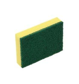 ACOR Schuurspons geel met groene pad 14x10x3cm. (pak 10 stuks)