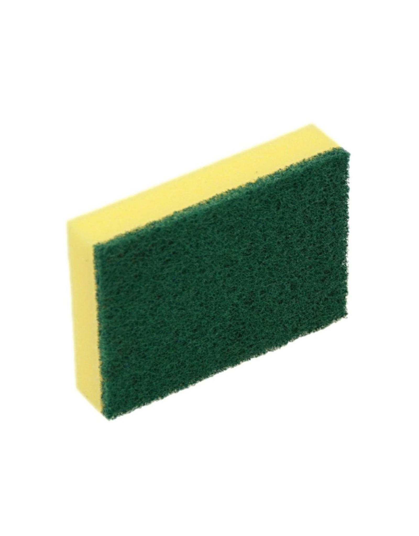 Acor Spons, schuur geel met groene pad 14x10x3cm. (pak 10 stuks)