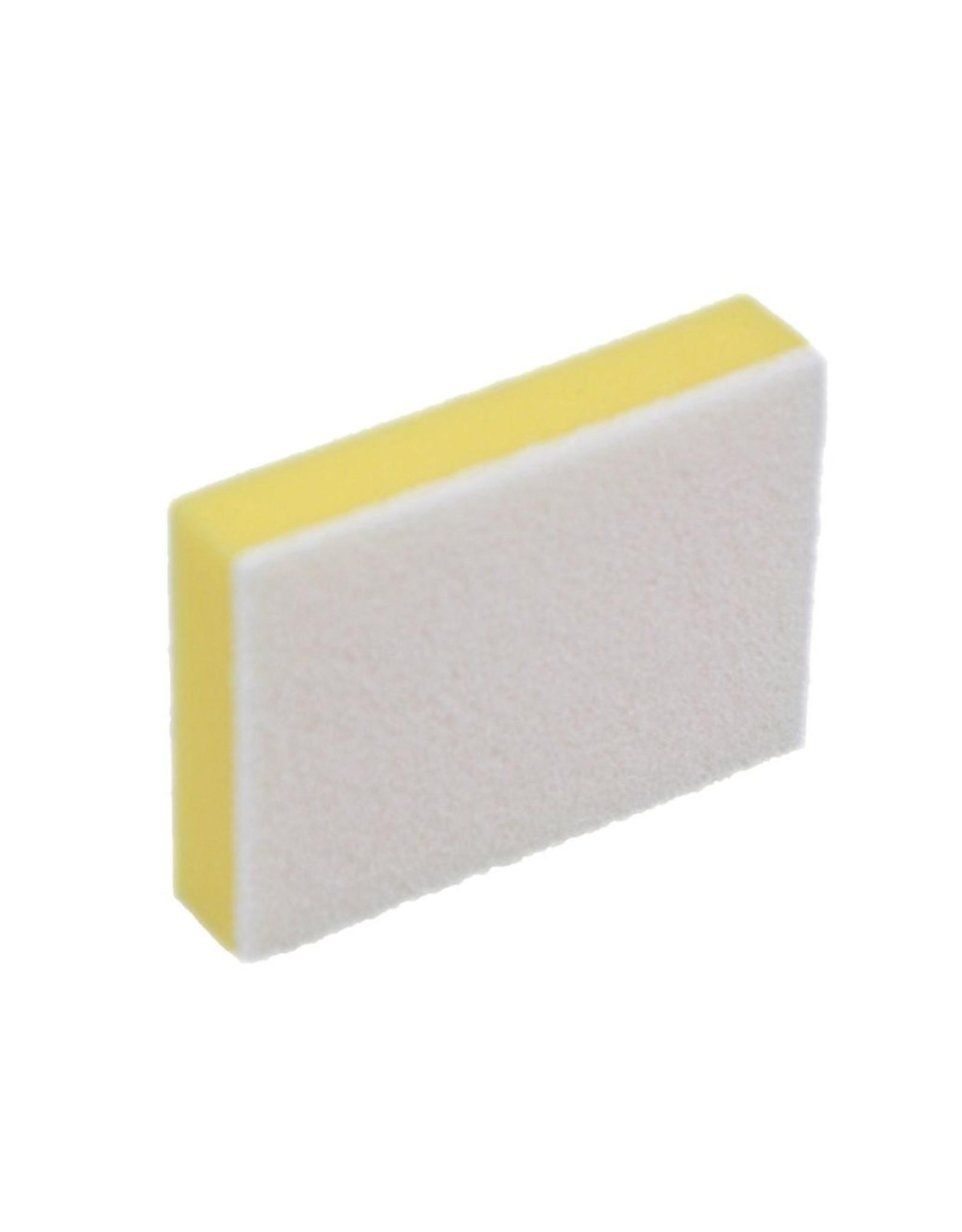 Spons, schuur geel met witte pad 14x10x3cm. (pk 10 st.)