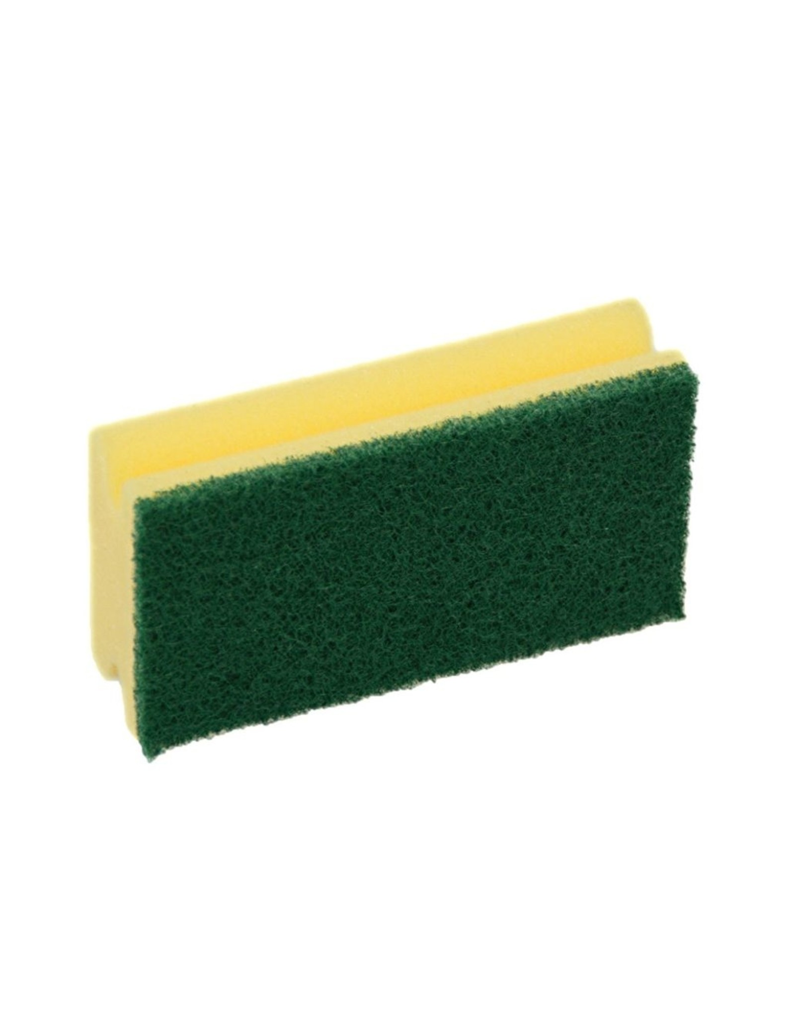 Spons m.greep. 7x14,5x4,3cm. geel met groene pad (5st.)