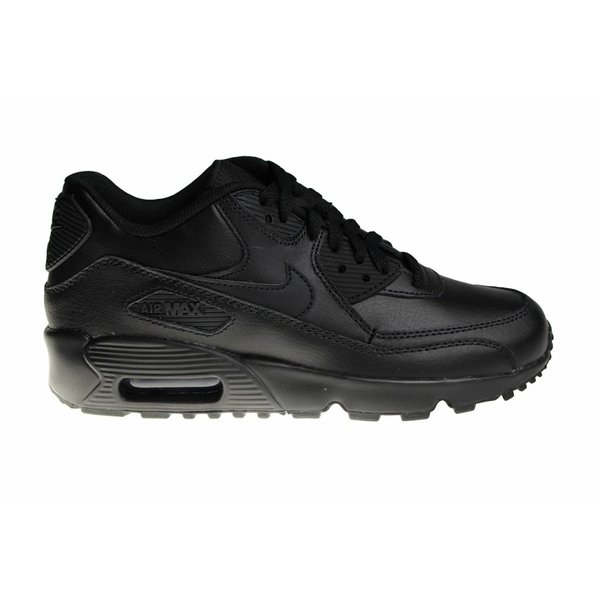 Nike Air Max 90 LTR (GS) All Black Leather 833412 001 Juniors' Sneakers