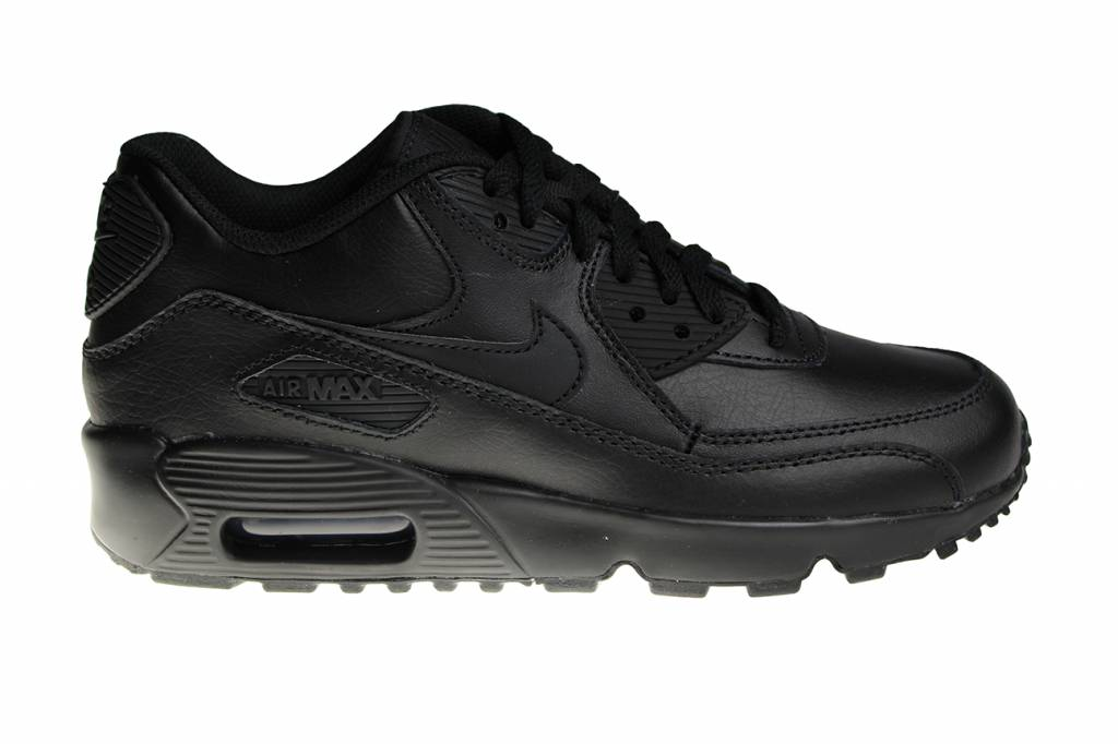 los angeles e21ee 2638c Nike Air Max 90 LTR (GS) All Black Leather 833412 001 Juniors  Sneakers