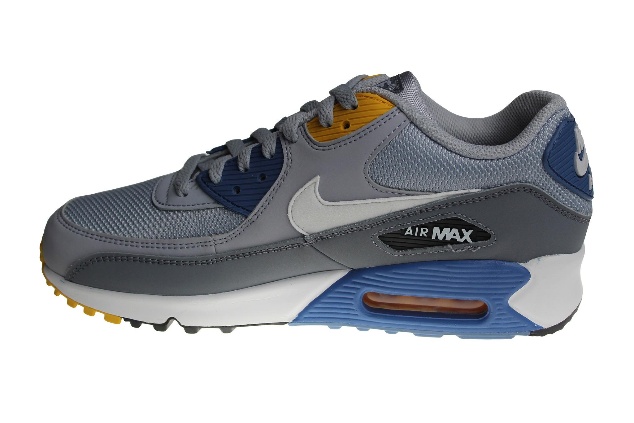 Nike Air Max 90 Essential (GreyBlueWhiteYellow) AJ1285 016 Men's Sneakers