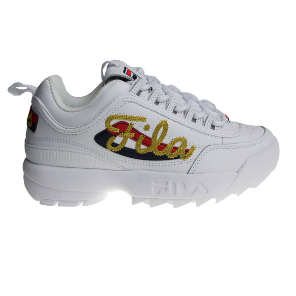 Fila Disruptor 2 Signature (White/Gold/Navy/Red) 5FM00545-125 Women's Sneakers