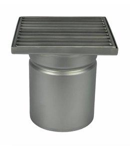 Diederen RVS afvoerput type WM150, 150x150mm, RVS304, 1-delig, onderafvoer 110mm, spijlenrooster.