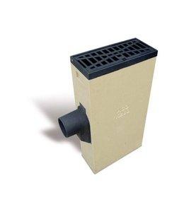 ACO Polymeerbetonnen lijnkolk Multipoint K200LSLR. Spie 160mm links/rechts, Clean rooster schuin, h=1065