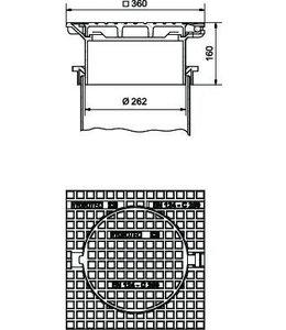 Schachtabdeckung für Welle 300mm, h = 160mm, Klasse C, 250KN