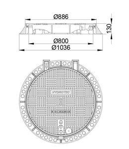 HYDROTEC Gut abdecken ECON 800, h = 130mm, Klasse D, 400KN