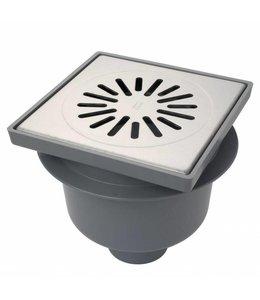 Aquaberg Kunststof vloerput type 4220, 200x200mm, onderuitlaat 75mm