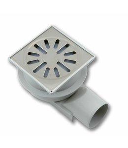 Aquaberg Kunststoff-Bodenablauf Typ 4250, 100x100mm, waagerechter Abgang 50mm