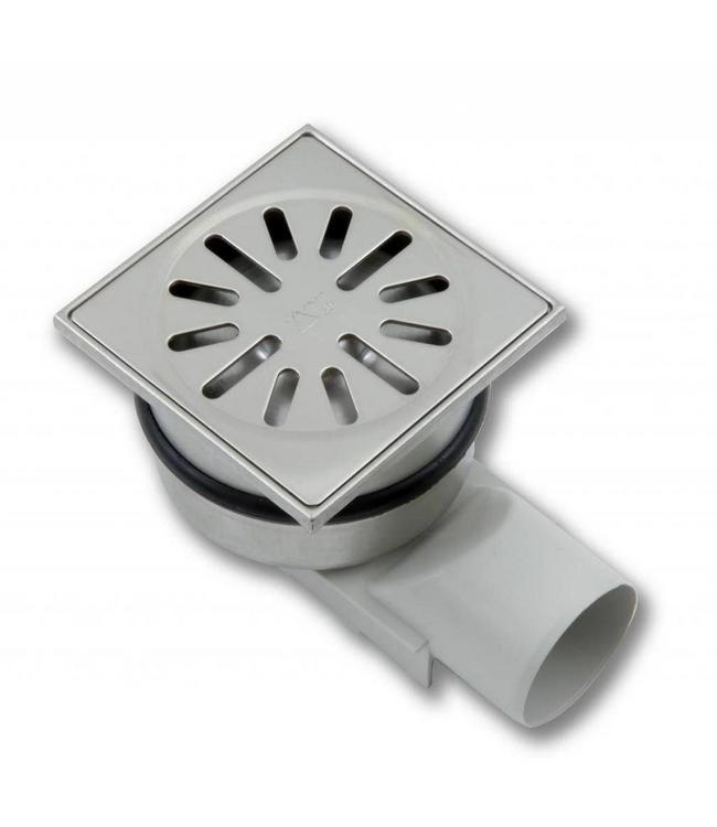 Aquaberg Edelstahl Bodenablauf Typ 4450, 100x100mm, waagerechter Abgang 50mm