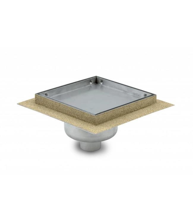 Aquaberg Edelstahl Bodenablauf inklusive Abdeckung für Fliese, Typ 451515, 150x150mm