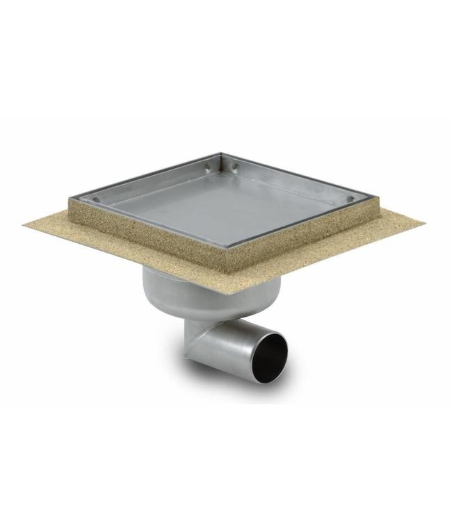 Aquaberg Edelstahl Bodenablauf inklusive Abdeckung für Fliese, Typ 451615, 150x150mm
