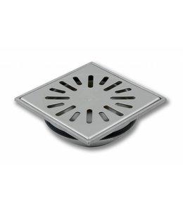 Aquaberg RVS vloerput type 4715, 150x150mm. RVS 304 sleufrooster, onderuitlaat mof 50mm
