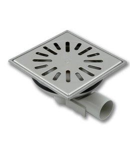 Aquaberg Edelstahl Bodenablauf Typ 4740, 150x150mm, waagerechter Abgang 40mm