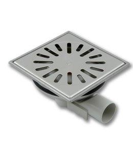 Aquaberg RVS vloerput type 4740, 150x150mm, zij-uitlaat 40mm