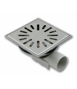 Aquaberg Edelstahl Bodenablauf Typ 4750, 150x150mm, waagerechter Abgang 50mm