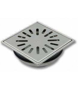 Aquaberg RVS vloerput type 4815, 150x150mm, onderuitlaat 50mm