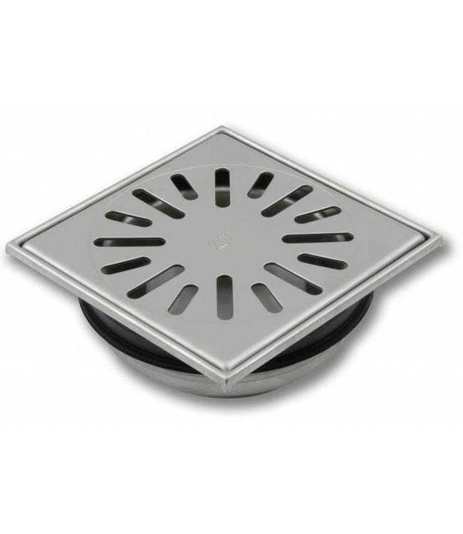 Aquaberg Edelstahl Bodenablauf Typ 4815, 150x150mm, senkrechten Abgang 50mm