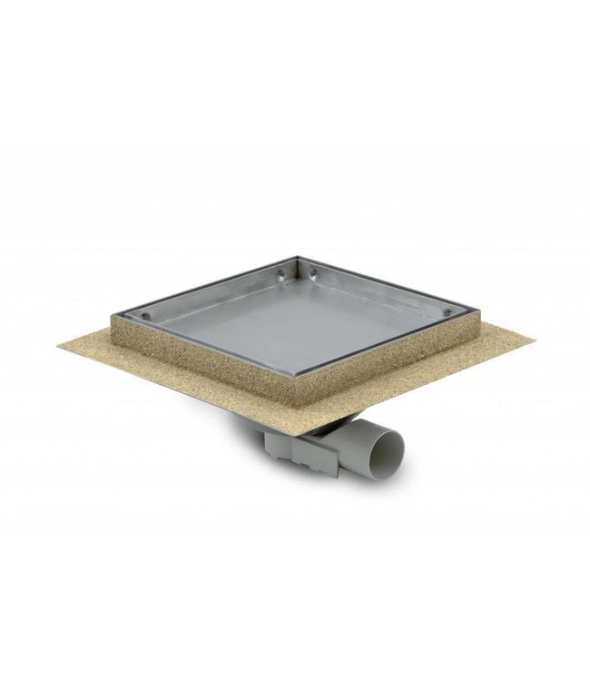 Aquaberg Edelstahl Bodenablauf inklusive Abdeckung für Fliese, Typ 484020, 200x200mm