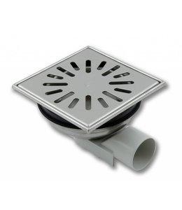 Aquaberg RVS vloerput type 4850, 150x150mm, zij-uitlaat 50mm
