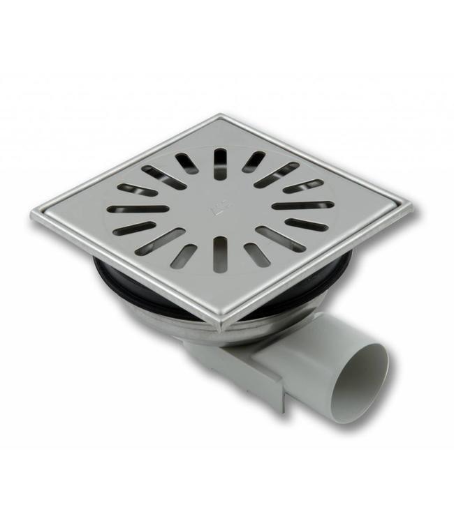 Aquaberg Edelstahl Bodenablauf Typ 4850, 150x150mm, waagerechter Abgang 50mm