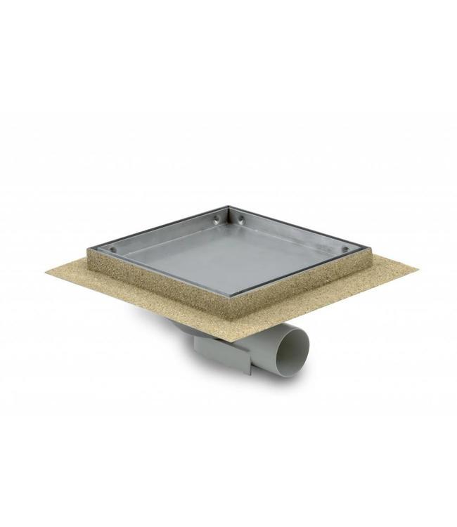 Aquaberg Edelstahl Bodenablauf inklusive Abdeckung für Fliese, Typ 485015, 150x150mm