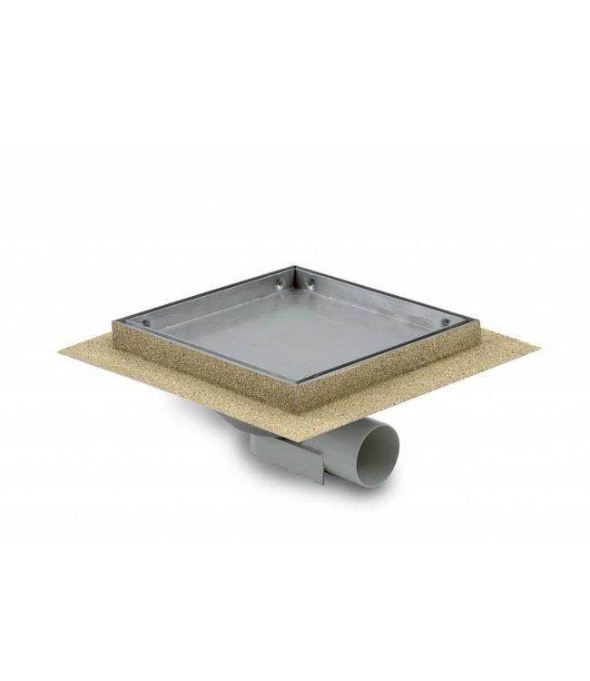 Aquaberg Edelstahl Bodenablauf inklusive Abdeckung für Fliese, Typ 485020, 200x200mm