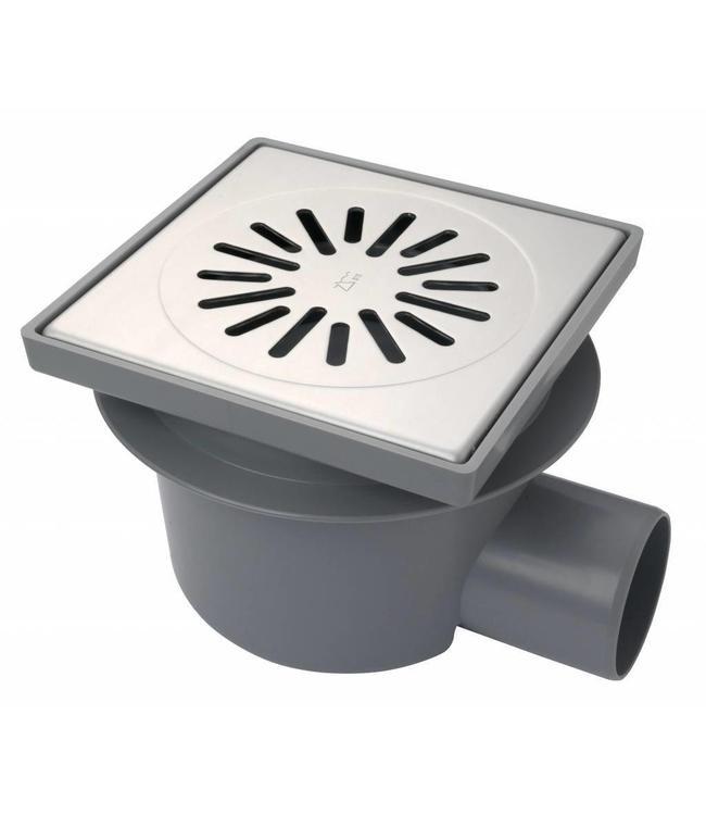 Aquaberg Kunststof vloerput type 6221, 200x200mm, zij-uitlaat 75mm