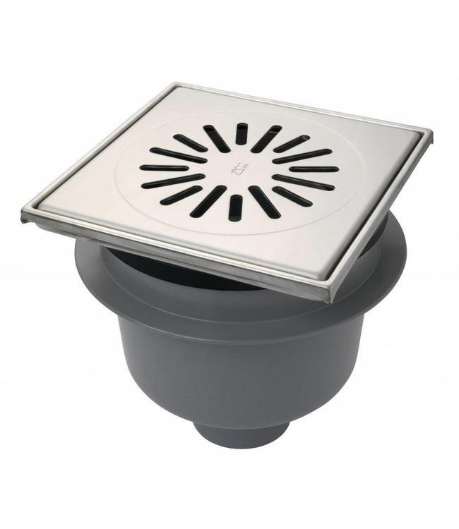 Aquaberg Kunststof vloerput type 6320, 200x200mm, onderuitlaat 75mm