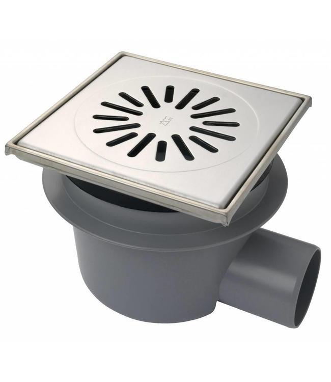 Aquaberg Kunststof vloerput type 6321, 200x200mm, zij-uitlaat 75mm