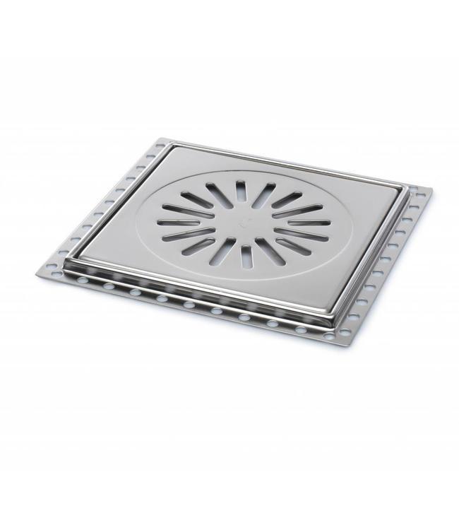 Aquaberg Edelstahl Bodenablauf fur Renovierung, Typ RP20, 200x200mm, Einbautiefe 9mm
